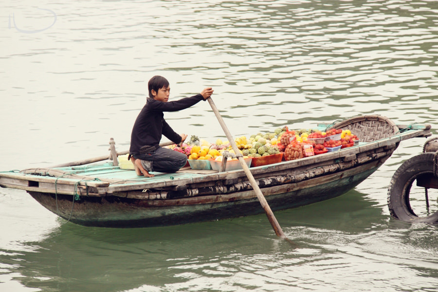 Halong Bay Vietnam Wedding Photographer: Floating fruit market