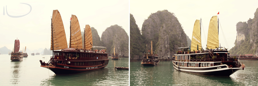 Halong Bay Vietnam Wedding Photographer: Vietnamese junk boats with sails up