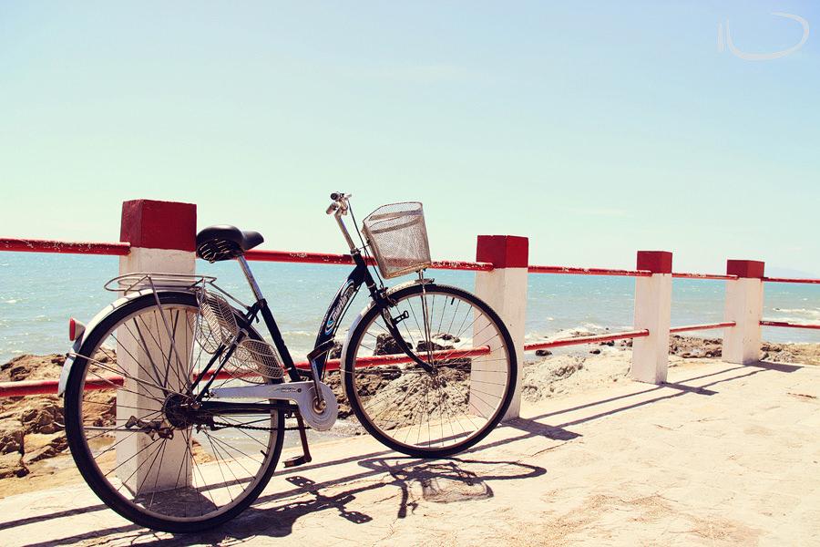 Mui Ne Vietnam Wedding Photographer: Bicycle against railing