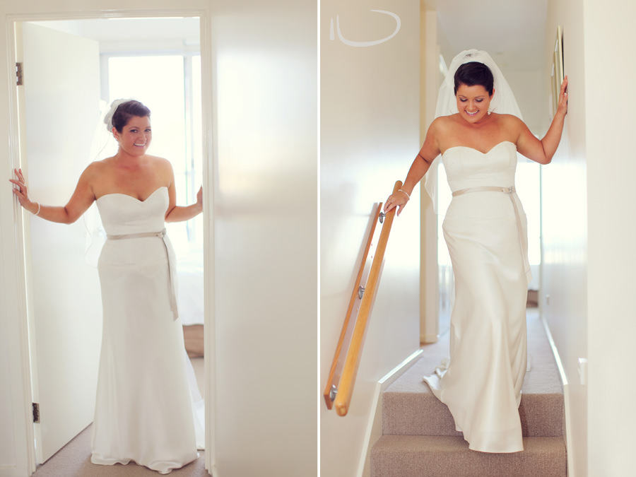 Apollo Bay Victoria Wedding Photographer: Bride walking down the stairs ready