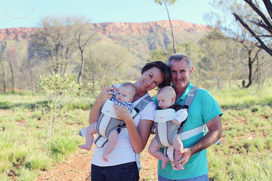 Alice Springs Baby Photographer: Family portrait - Mum, dad & twin boys