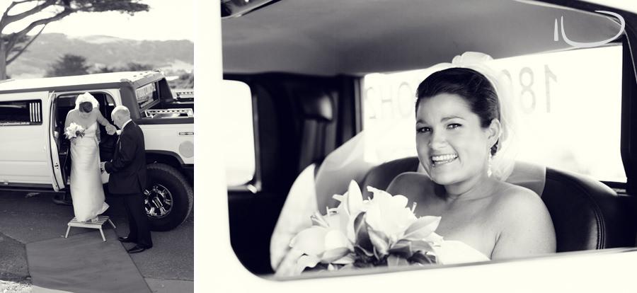 St. Aidans Church Apollo Bay Victoria Wedding Photographer: Bride arriving in limousine