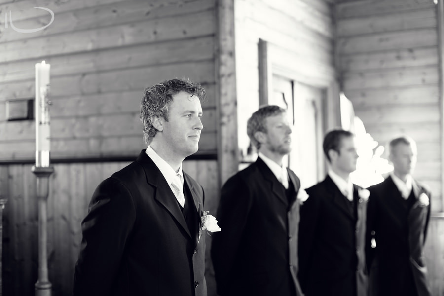 St. Aidans Church Apollo Bay Victoria Wedding Photographer: Groom waiting for bride