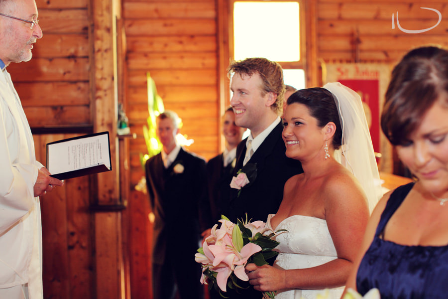 St. Aidans Church Apollo Bay Victoria Wedding Photographer: Bride & groom at altar