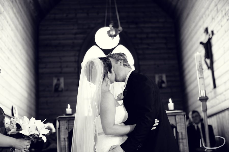 St. Aidans Church Apollo Bay Victoria Wedding Photographer: First kiss