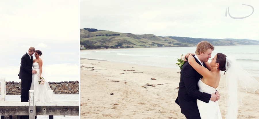 Otway Estate Barongarook Victoria Wedding Photographer: Bride & Groom on beach