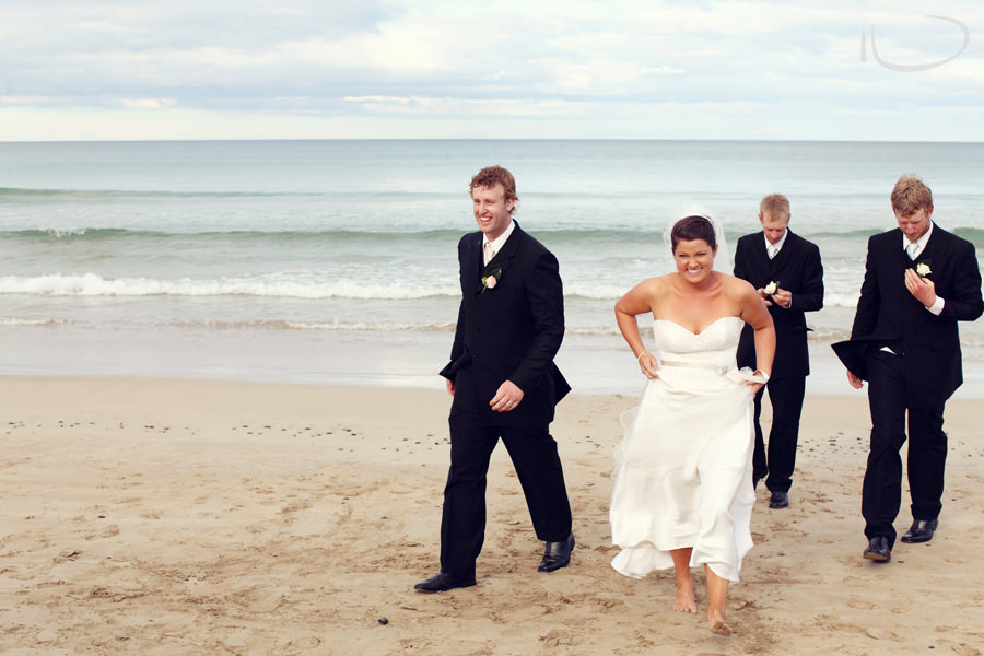 Otway Estate Barongarook Victoria Wedding Photographer: Bride, Groom & Groomsmen on beach