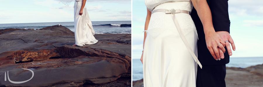 Otway Estate Barongarook Victoria Wedding Photographer: Bride portraits on rocks
