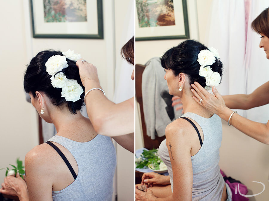 Mudgee NSW Wedding Photographer: Bride having hair done