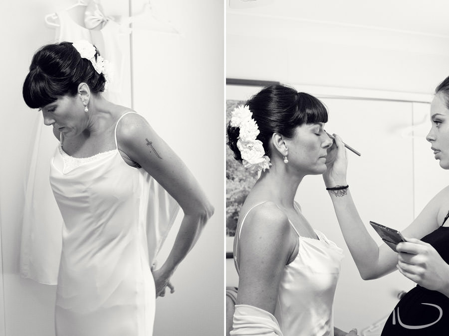 Mudgee NSW Wedding Photographer: Bride getting dressed and having makeup done