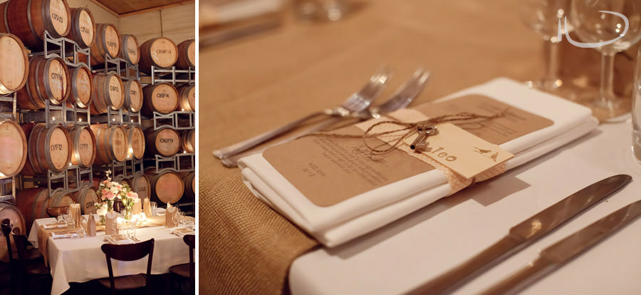 Margan Winery Hunter Valley Wedding Photographer: Reception details - place settings