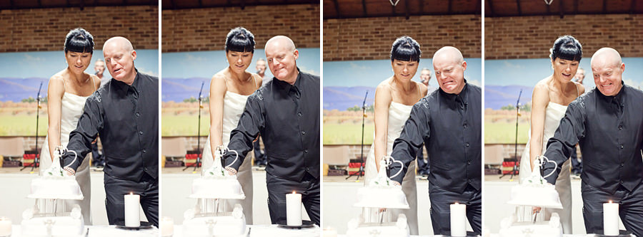 Mudgee NSW Wedding Photographer: Bride & Groom cutting collapsing cake