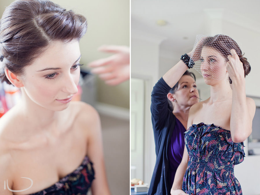 Pokolbin Hunter Valley Wedding Photographer: Bride getting hair done