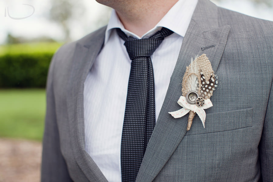 The Vintage Hunter Valley Wedding Photographer: Groomsman boutonniere