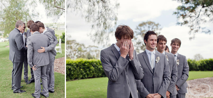 The Vintage Hunter Valley Wedding Photographer: Groom's reaction to seeing bride
