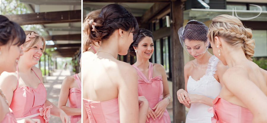 The Vintage Hunter Valley Wedding Photographer: Bride being congratulated by bridesmaids after ceremony