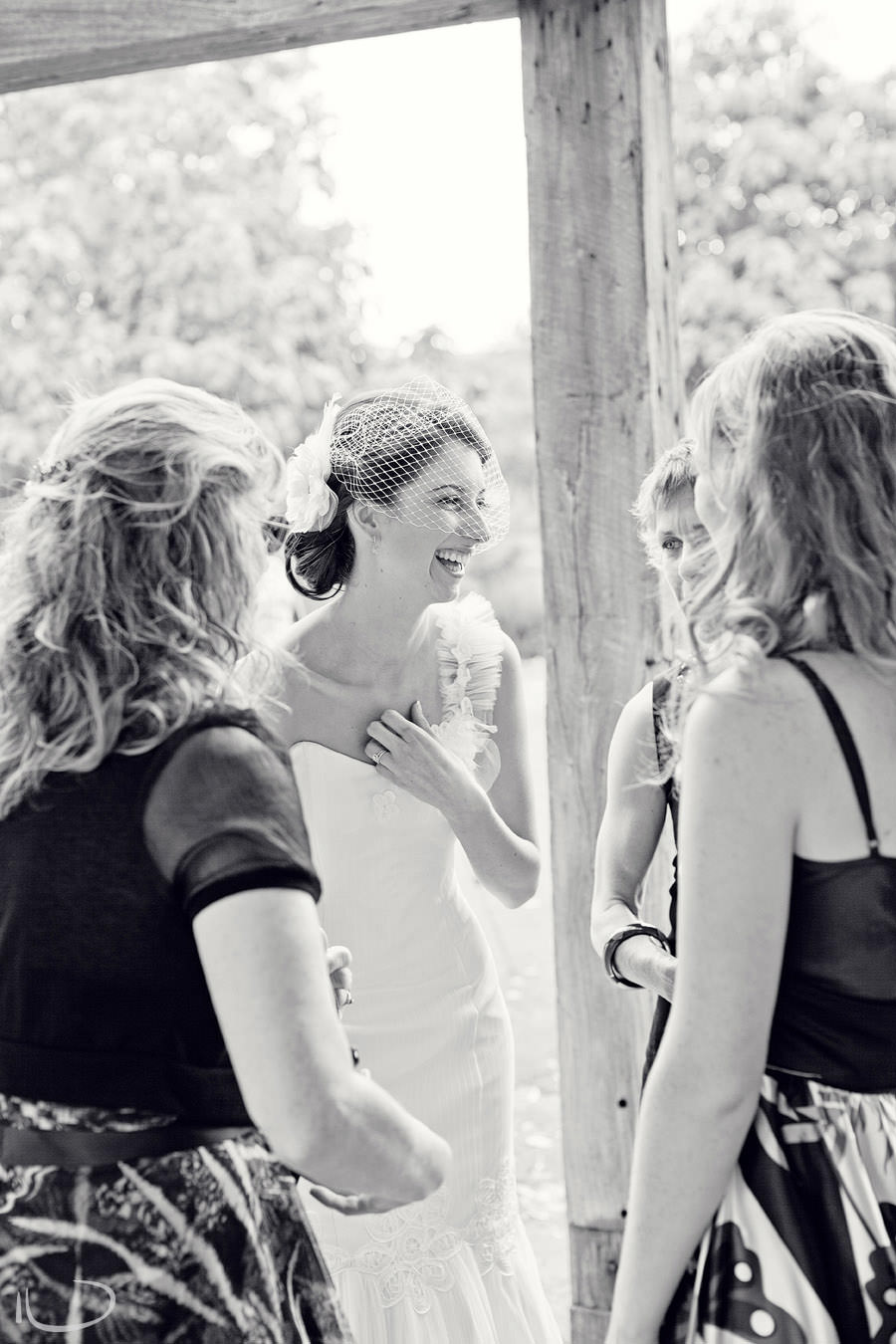 The Vintage Hunter Valley Wedding Photographer: Bride greeting guests after ceremony