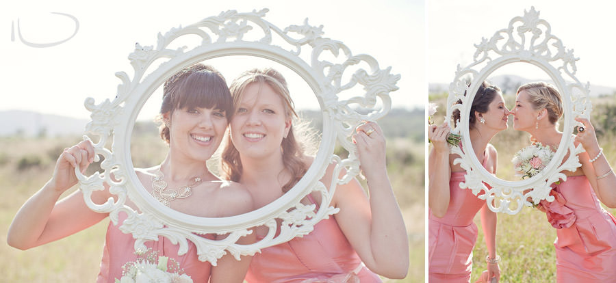 The Vintage Hunter Valley Wedding Photographer: Bridesmaids with vintage frame