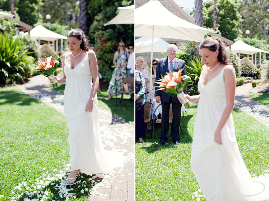 Banjo Paterson Gladesville Wedding Photographer: Bride walking down the aisle