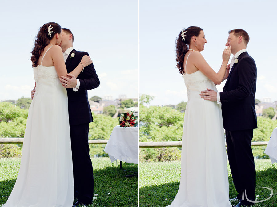 Banjo Paterson Gladesville Wedding Photographer: First Kiss