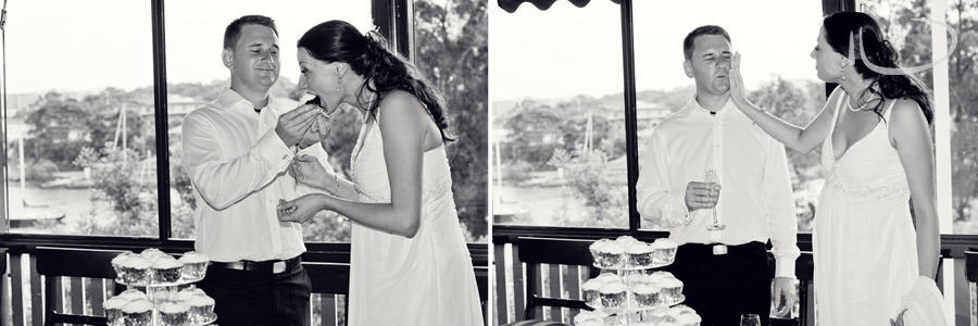 Banjo Patersons Gladesville Wedding Photographer: Bride & Groom feeding each other cake