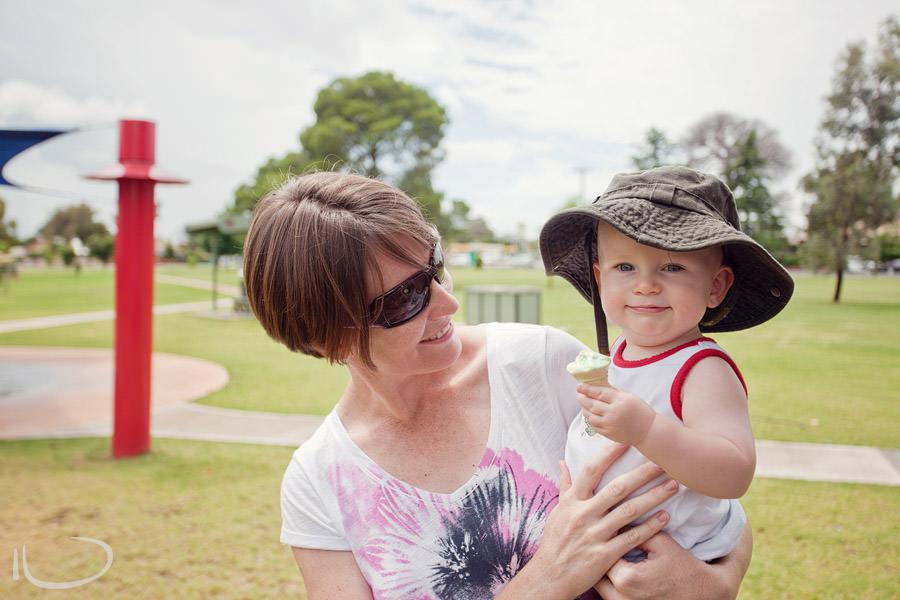 Northern Beaches Sydney Child Birthday Party Photographer: Toddler eating ice cream cake