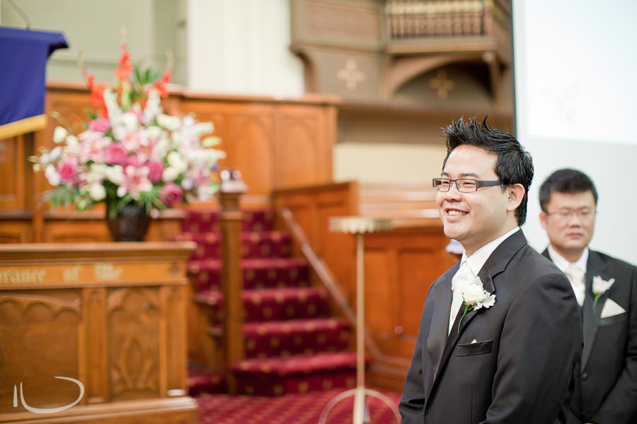 Chinese Presbyterian Church Surry Hills Wedding Photographer: Groom's reaction to seeing bride