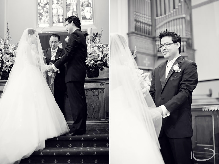 Chinese Presbyterian Church Surry Hills Wedding Photographer: Bride & Groom during ceremony