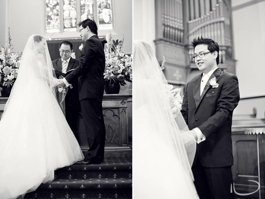 Chinese Presbyterian Church Surry Hills Wedding Photographer: Bride & Groom during ceremony