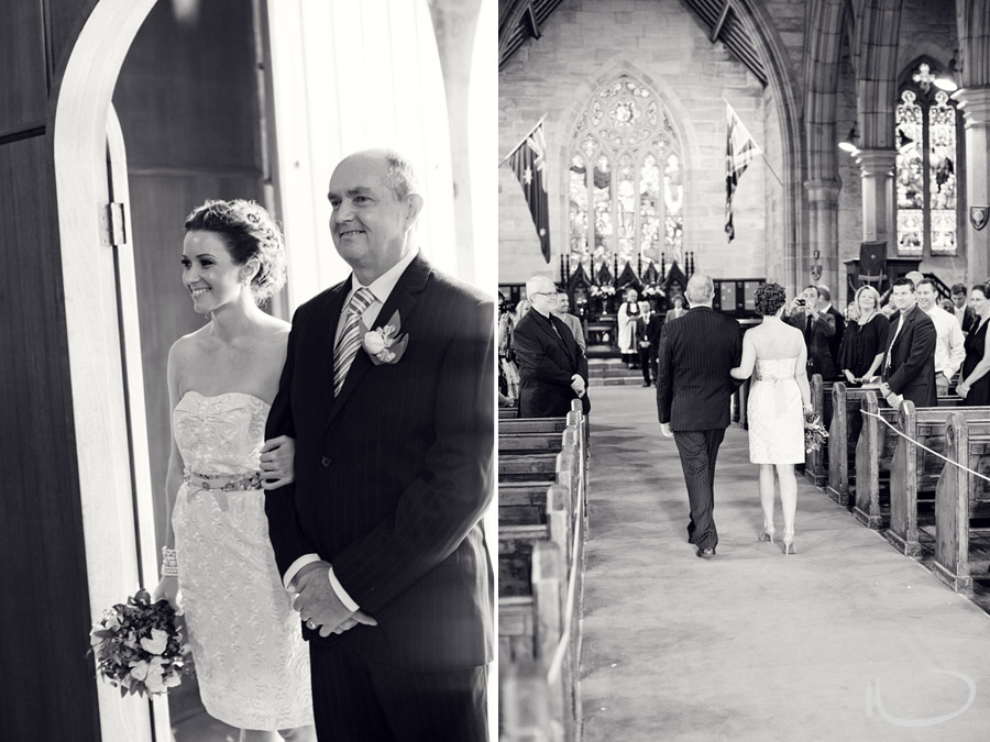 The Rocks Wedding Photographer: Bride & father walking down the aisle