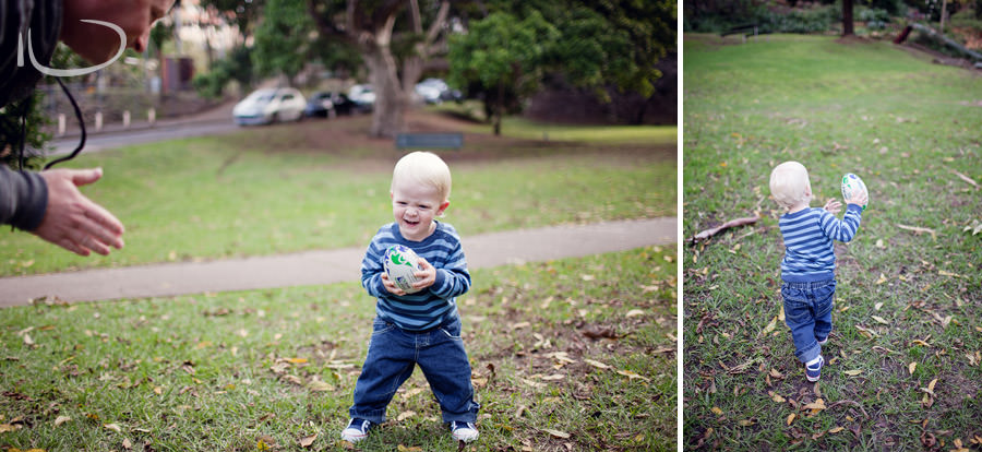 North Shore Child Photographer: Toddler playing football