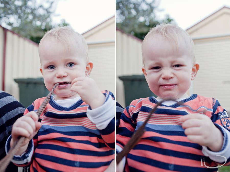 Newport Baby Photographer: Baby eating pines