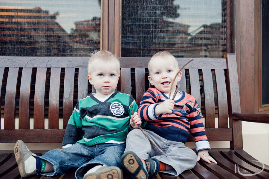 Mona Vale Child Photographer: Twins sitting on bench seat