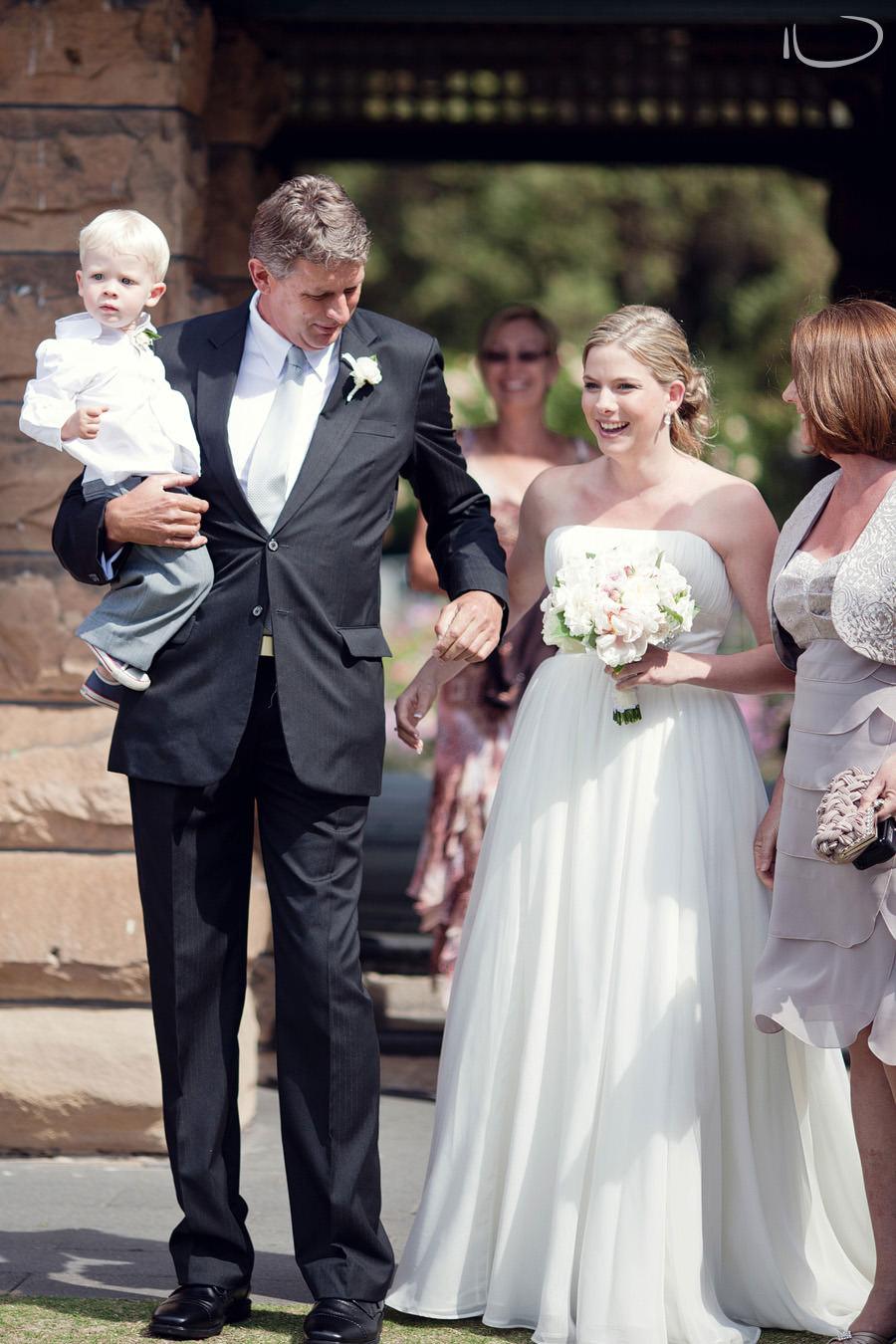Botanic Gardens Wedding Photographer: Bride & parents walking down the aisle
