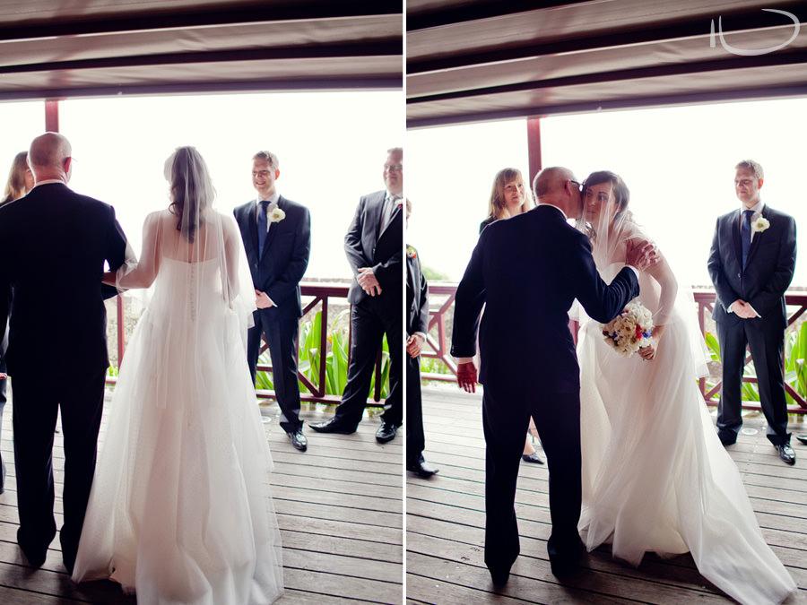Gunners Barracks Wedding Photographer: Bride being giben away by father