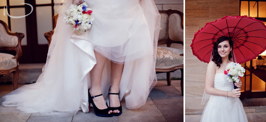 Gunners Barracks Wedding Photographer: Bride's blue shoes & bride with red parasol