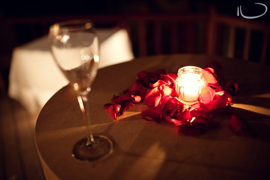 Gunners Barracks Wedding Photographer: Tea light & rose petals