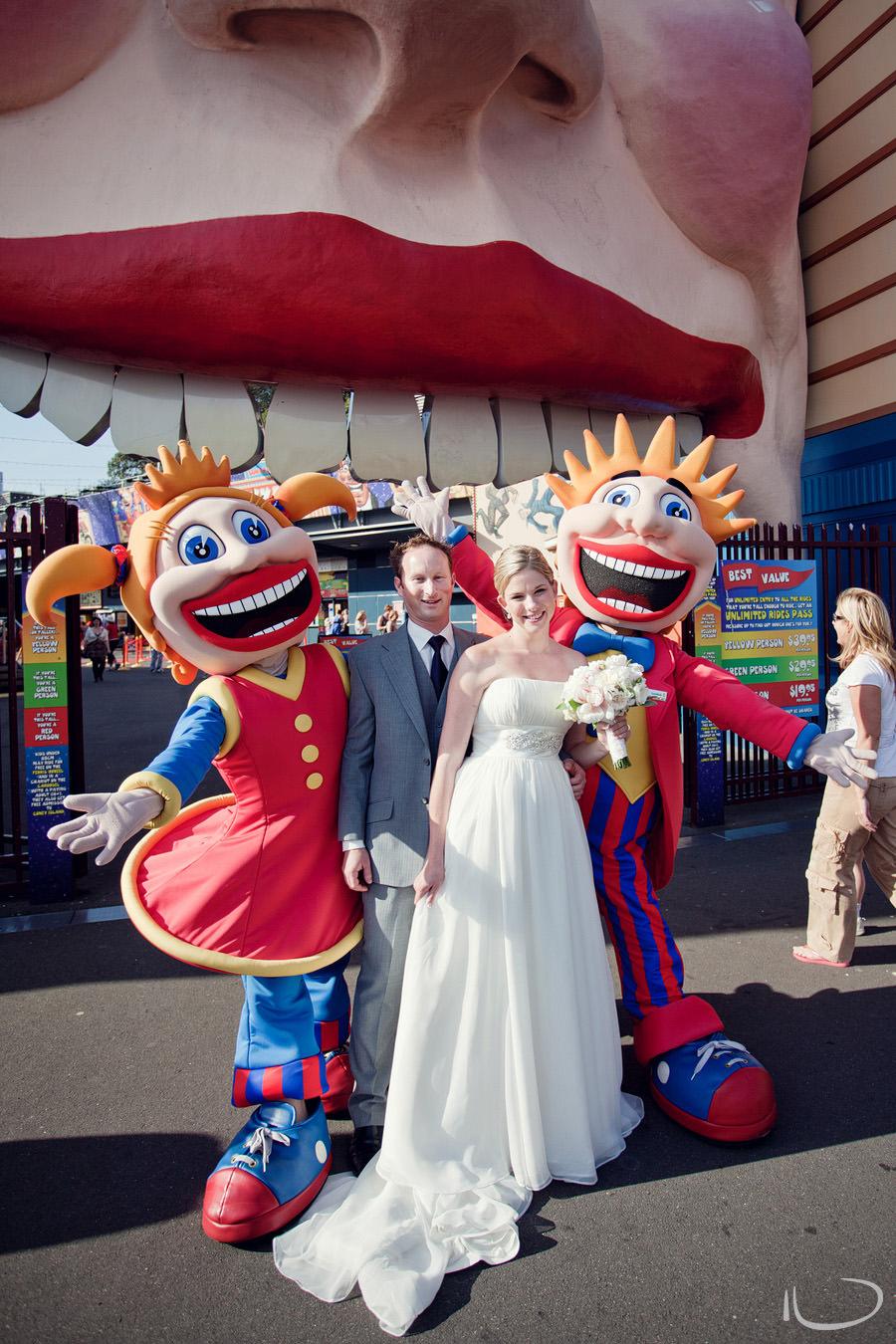 Luna Park Wedding Photographer: Bride & Groom with Luna Park Clowns
