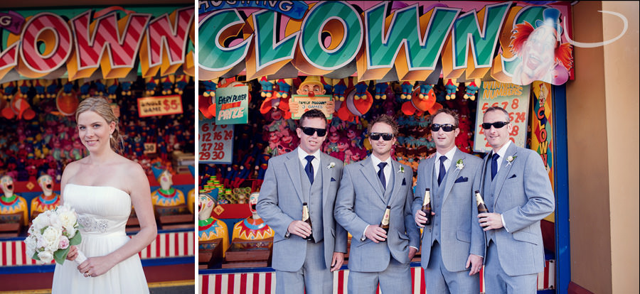 Luna Park Wedding Photographer: Groom & Groomsmen with clowns