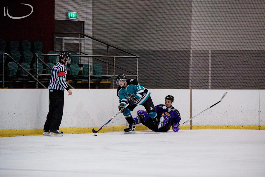 Sydney Ice Hockey Photographer: Hockey skate in the crotch