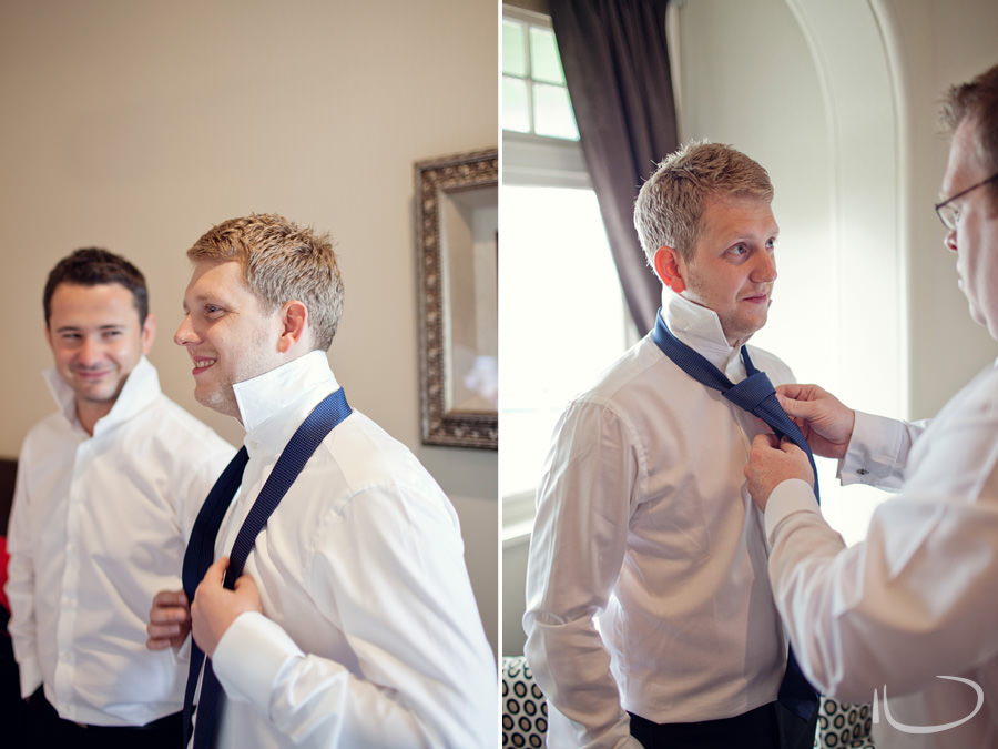 Sydney Wedding Photographer: Groom putting on tie