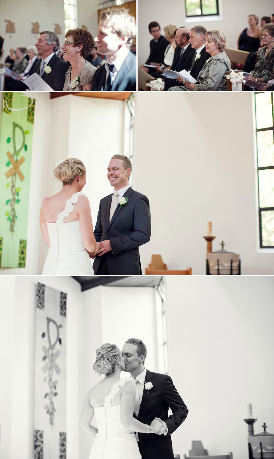 Duntroon Chapel Wedding Photographer: First kiss