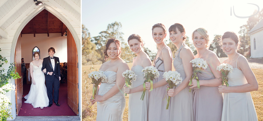 Hunter Valley Wedding Photographer: Bridesmaid portrait & couple leaving chapel