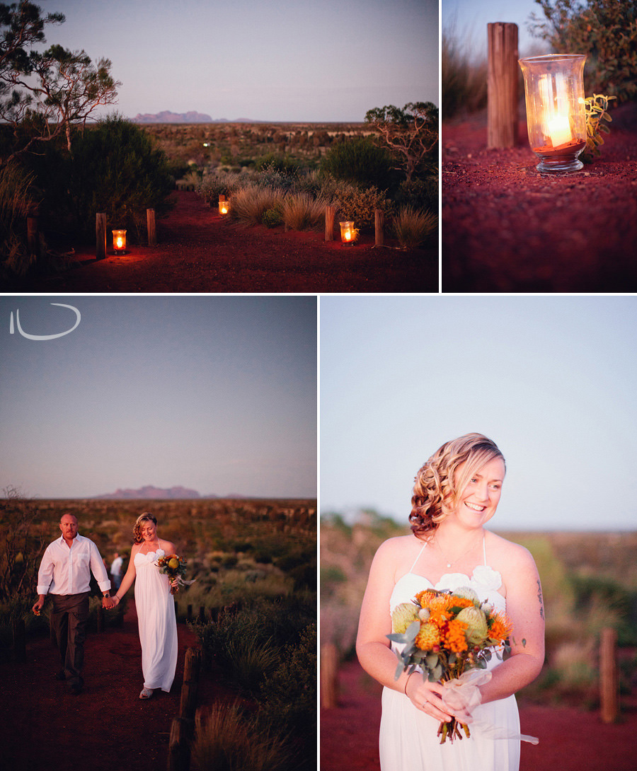 Ayers Rock Wedding Photographers: Bride & groom arriving at ceremony