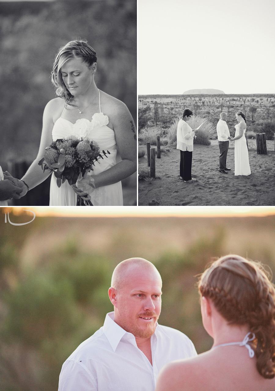 Uluru Wedding Photographer: Bride & Groom during ceremony