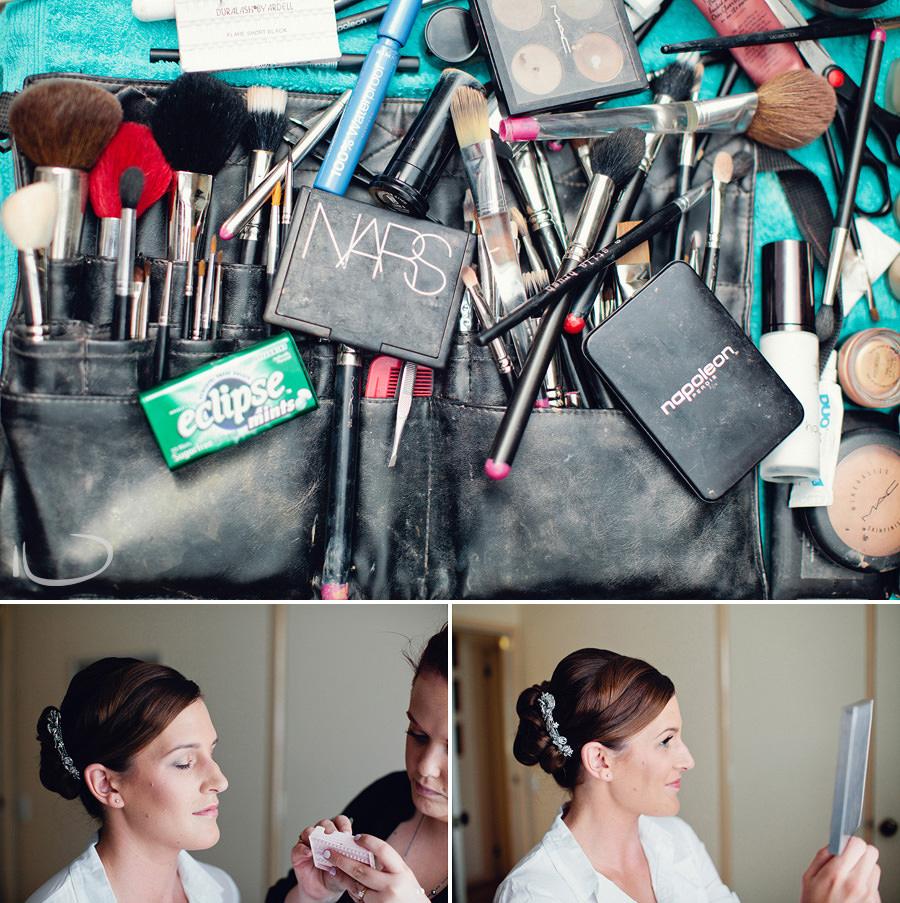 Canberra Wedding Photographers: Bride having makeup done