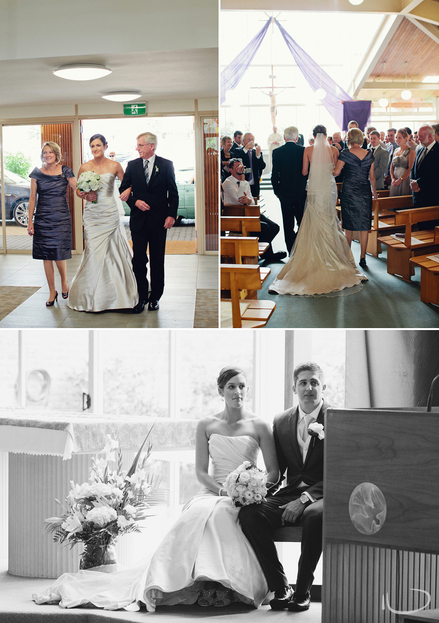 Canberra Wedding Photography: Bride walking down the aisle with parents