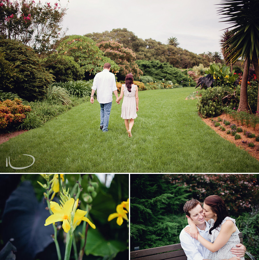 Centennial Park Engagement Photographer: Couple walking through park