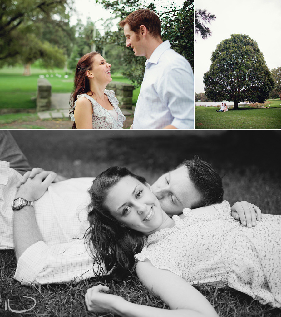 Centennial Park Engagement Photography: Couple laying in the grass