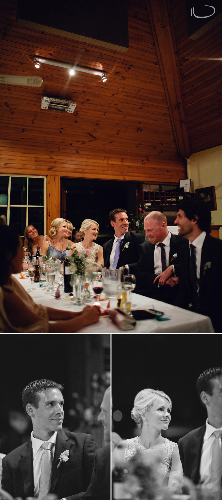 Clonnys Wedding Photography: Bride & groom watching speeches
